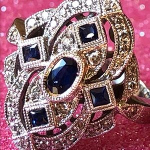 14 k Art Deco diamond and natural sapphire ring